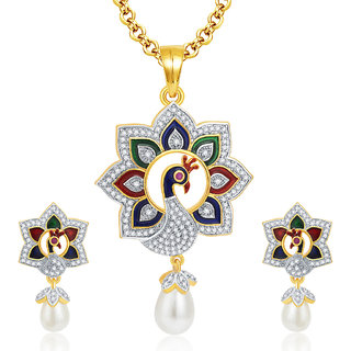 Sukkhi Immaculate Peacock Gold And Rhodium Plated CZ Pendant Set For Women