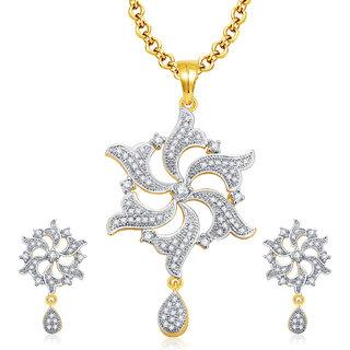 Sukkhi Amazing Gold And Rhodium Plated CZ Pendant Set For Women