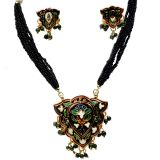 Black Rajasthani Designer Brass Necklace Set 103 309878