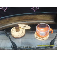 Round Shape Wooden Coster Set With 6 Printed Plates