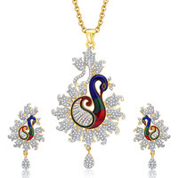 Sukkhi Enticing Peacock Gold And Rhodium Plated CZ Pendant Set For Women