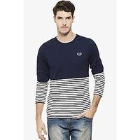 Rigo Men's Blue & White Round Neck T-shirt
