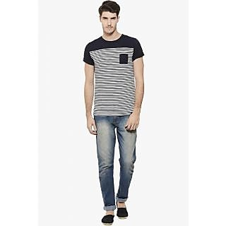 RIGO White Navy Striped Round Neck Tee-Half