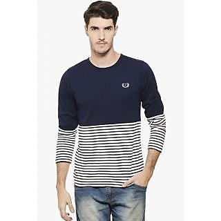 Rigo Men's White & Blue Round Neck T-Shirt