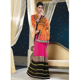 Glamorous Orange Georgette Embroidered Saree available at ShopClues for Rs.6035
