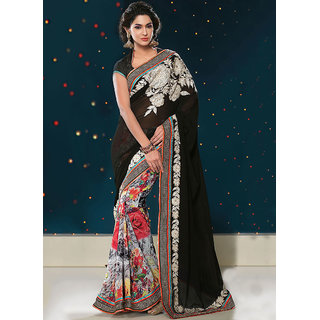 Trendy Black Georgette Embroidered Saree available at ShopClues for Rs.6256