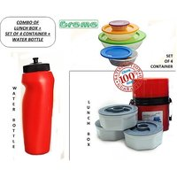 Power Plus  Combo Of Lunch Box + Set Of 4 Container + Water Bottle