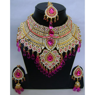 Indian Bollywood Hand Made Real Kundan Jewellery Necklace Set .NP-408