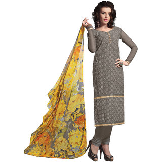 Lovely Look Grey Embroidered Semi Stitched Straight suit LLKKFBRCR306