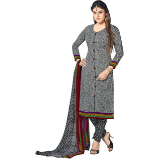 Lovely Look Gray Printed Un-Stitched Straight suit LLKKFBGSSNR11004