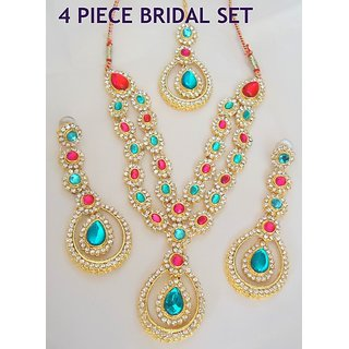 DESIGNER 4 PIECE MULTICOLOUR  CZ NECKLACE SET