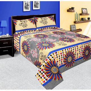 Swastik Multicolour Cotton Double Bedsheet With 2 Pillow Covers (BEDSHEET201)