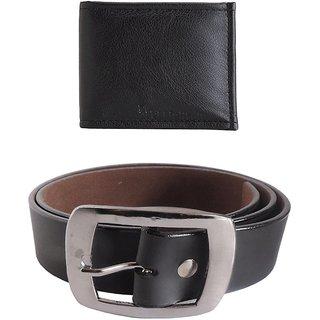 Elligator Stylish Black Belt With Black Wallet Combo For Men