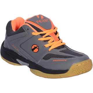 Feroc Gray Orange Unisex Badminton Shoe