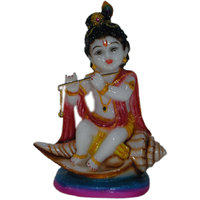 Madg Religious Idols Of Shree Krishna Seating On Shankh Premium Statue Showpiece (H  20 Cm X W  15.5 Cm X D  9 Cm)
