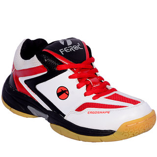 Feroc Red White Badminton Sports Shoes