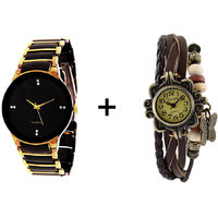 Gtc Combo Of Black  Golden Quartz Analog Watch For Man With Brown Designer Leather Analog Watch For Woman