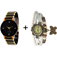Gtc Combo Of Black  Golden Quartz Analog Watch For Man With White Designer Leather Analog Watch For Woman