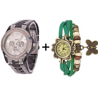 Gtc Combo Of Silver Quartz Analog Watch For Man With Green Designer Leather Analog Watch For Woman