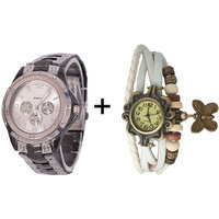 Gtc Combo Of Silver Quartz Analog Watch For Man With White Designer Leather Analog Watch For Woman