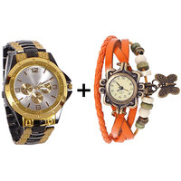 Gtc Combo Of Black  Golden Quartz Analog Watch For Man With Orange Designer Leather Analog Watch For Woman