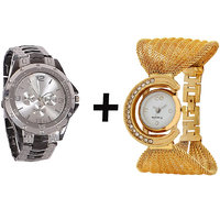 Gtc Combo Of Black  Silver Quartz Analog Watch For Man With Golden Bracelet Analog Watch For Woman