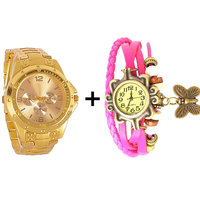 Gtc Combo Of Golden Quartz Analog Watch For Man With Pink Designer Leather Analog Watch For Woman