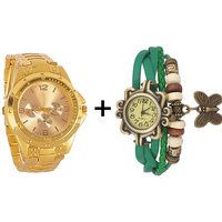 Gtc Combo Of Golden Quartz Analog Watch For Man With Green Designer Leather Analog Watch For Woman