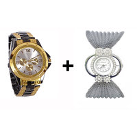 Gtc Combo Of Black  Golden Quartz Analog Watch For Man With Silver Bracelet Analog Watch For Woman
