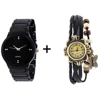 Gtc Combo Of Black Quartz Analog Watch For Man With Black Designer Leather Analog Watch For Woman