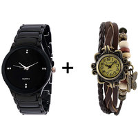 Gtc Combo Of Black Quartz Analog Watch For Man With Brown Designer Leather Analog Watch For Woman