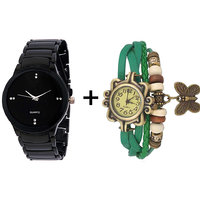 Gtc Combo Of Black Quartz Analog Watch For Man With Green Designer Leather Analog Watch For Woman