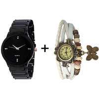 Gtc Combo Of Black Quartz Analog Watch For Man With White Designer Leather Analog Watch For Woman