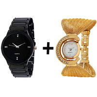 Gtc Combo Of Black Quartz Analog Watch For Man With Golden Bracelet Analog Watch For Woman