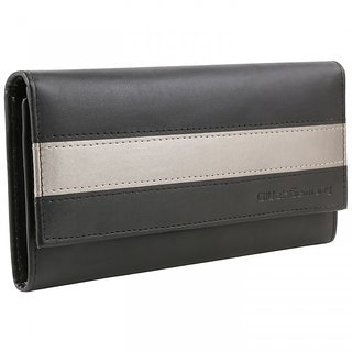 Gluck Germany Ladies Black Clutch with Silver Strip
