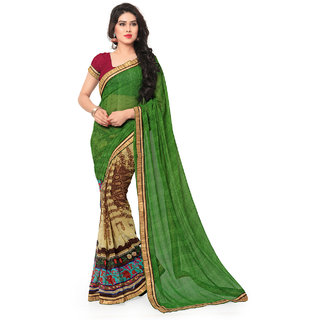 Sareemall Green  Beige Faux Georgette Printed With Lace Border Saree With Unstitched Blouse 2NZR8433