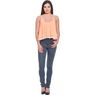 Kotty Orange Cotton Square Neck Sleeveless Crop Tops For Women