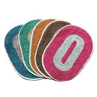 K Decor Cotton Door Mats (12 X 18 Inches) Multicolour Set Of 4