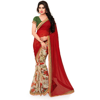 Sareemall Red  Beige Faux Georgette Printed With Lace Border Saree With Unstitched Blouse 2NZR8442
