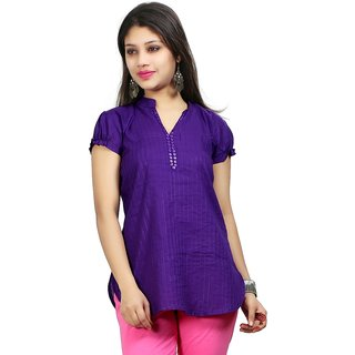 VALAS Womens Cotton Purple Pintex Short Kurti