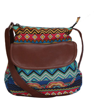 Lychee Bags Women Canvas Haley Sling Bag (LB20BL Blue Red Sky Blue Yellow Brown)