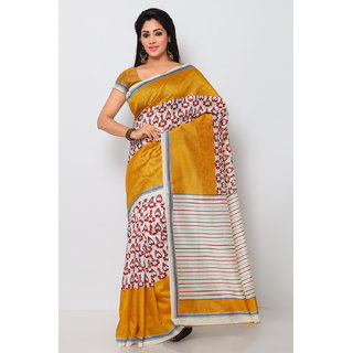 Sareemall Beige  Yellow Art Silk Printed Casual Saree With Unstitched Blouse 3SKT8106A