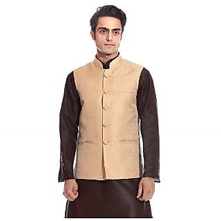 Tag 7 Golden Beige Ethnic Jacket