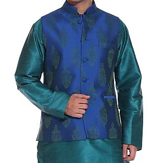 Tag 7 Combo  Green Kurta Pajami With Silk Brocade  Nehru Jacket