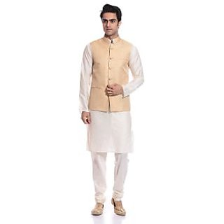 Tag 7 Ghost White Kurta Pyjama With Gold Jacket