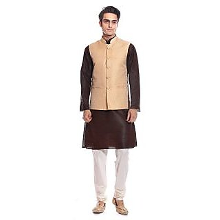 Tag 7 Brown Kurta Pyjama With Gold Jacket