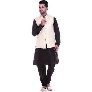 Tag 7 Brown Kurta Churidar With Golden Jacket