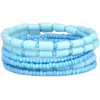 Sparkling Handcrafted Spiral Aqua Bangle