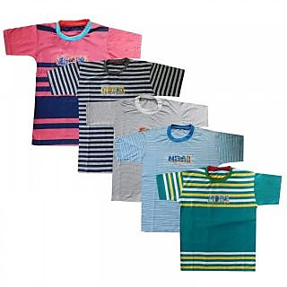 Shreeji Garments Multicolour Cotton Tees for Boys (Pack of 5)