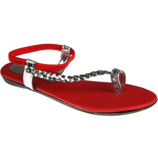 Zachho Women Red Plain Toe Casual Sandals (HC67-RED)